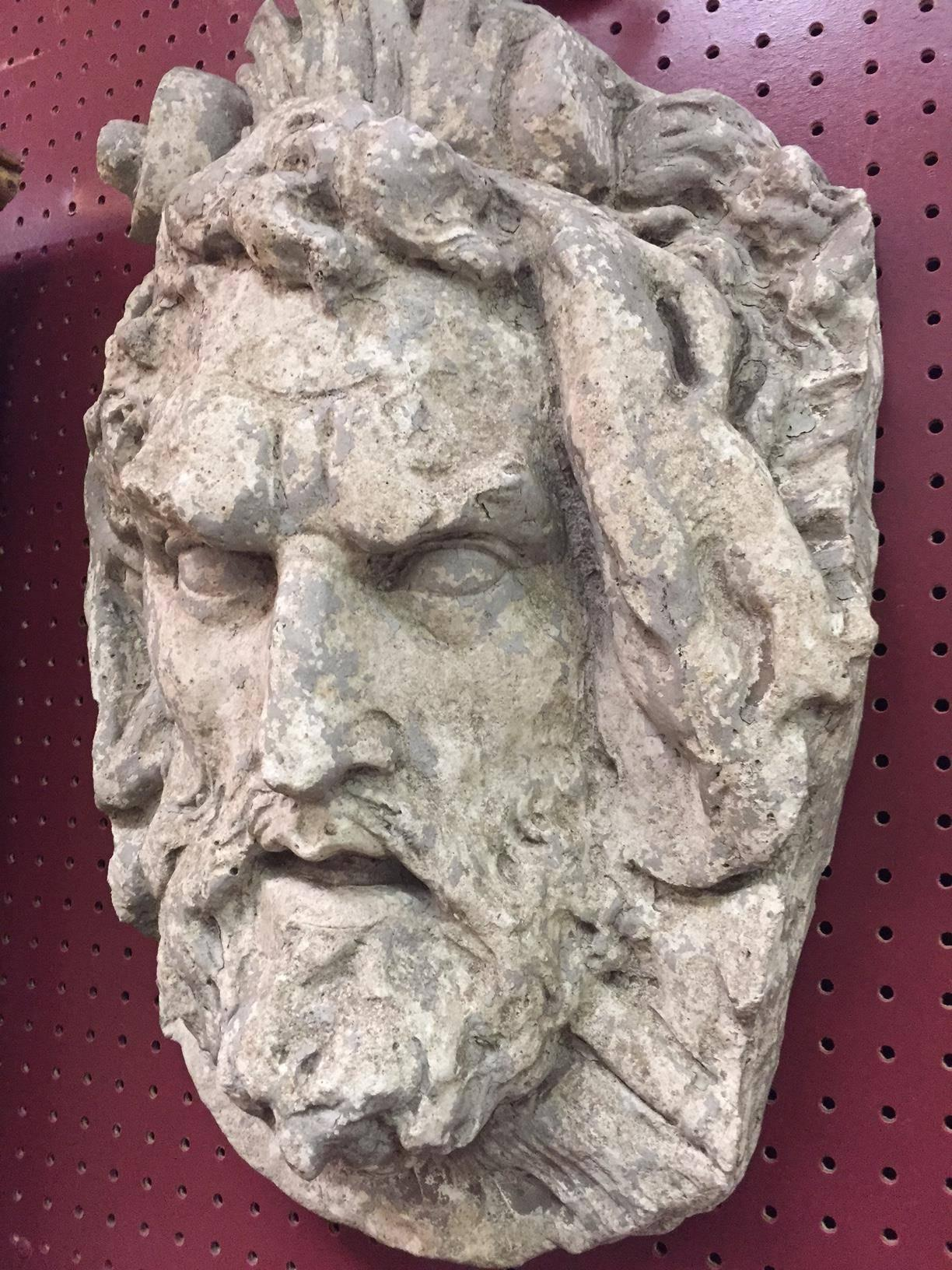 Impressive Large Pair Of Italian Cast Stone Wall Mask Sculptures Of  Mythical Faces. Garden Decor