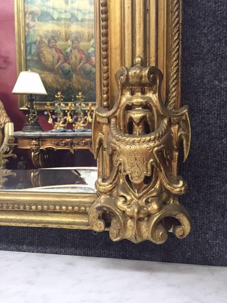 Gilt Italian Rococo Style Gilded Pier Mirror, 19th Century For Sale