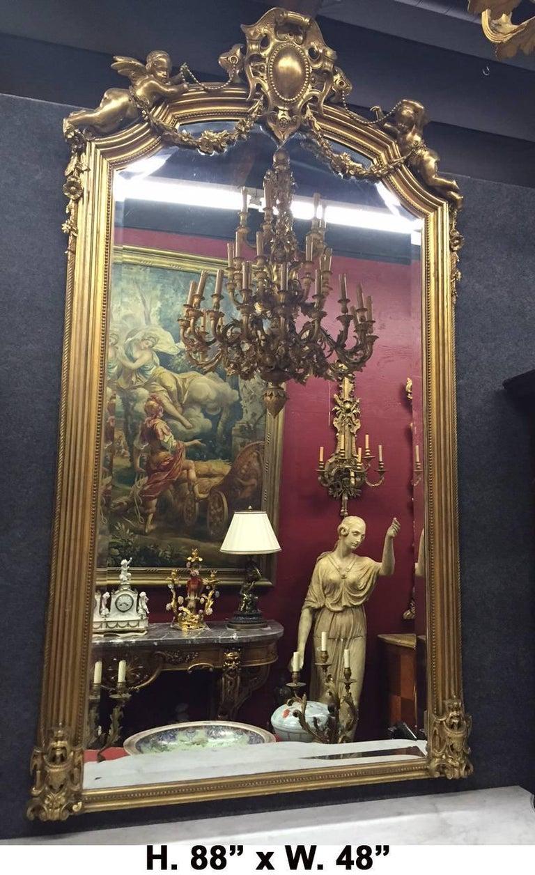 Italian Rococo Style Gilded Pier Mirror, 19th Century For Sale 1