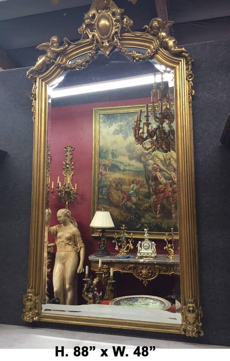 Italian Rococo Style Gilded Pier Mirror, 19th Century For Sale 2