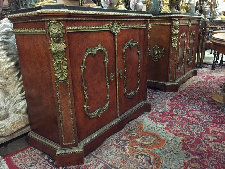 Pair of French Gilt Bronze-Mounted Cabinets, 19th Century In Good Condition For Sale In Cypress, CA