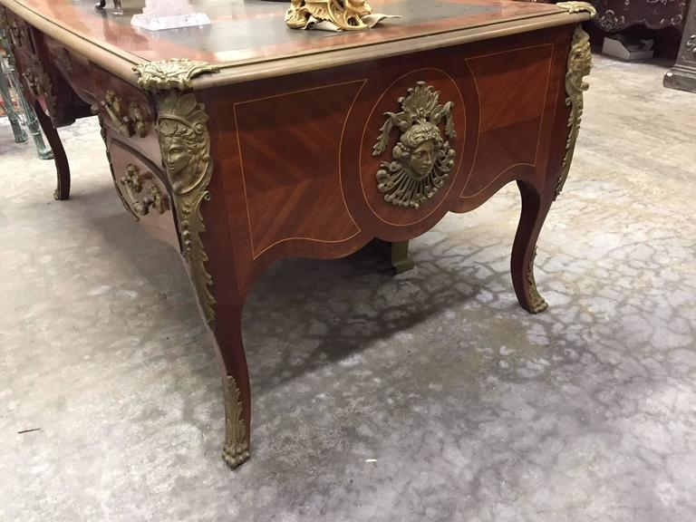Louis XV Style Ormolu-Mounted Bureau Plat Desk, 19th Century 8