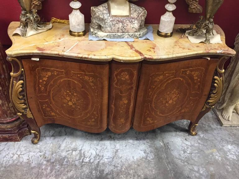 Louis XV Style Marquetry Two-Door Cabinet with Sienna Marble, Mid-20th Century In Good Condition For Sale In Cypress, CA