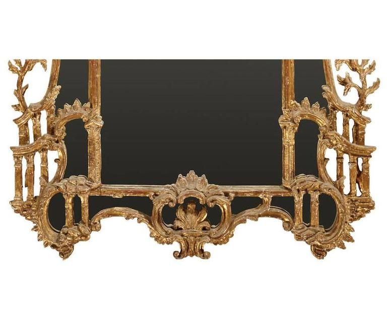 Hand-Carved George III Chippendale Style Carved Giltwood Mirror, 19th Century For Sale