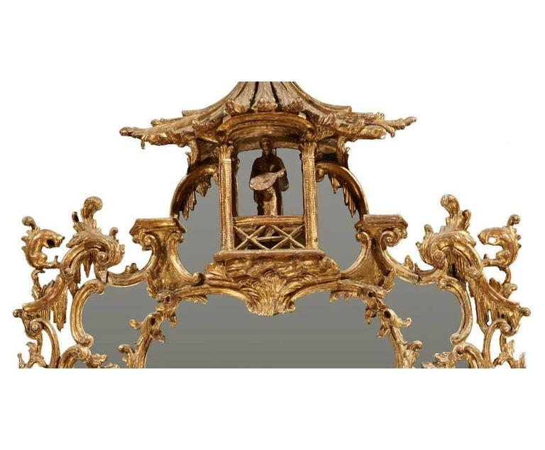 English George III Chippendale Style Carved Giltwood Mirror, 19th Century For Sale