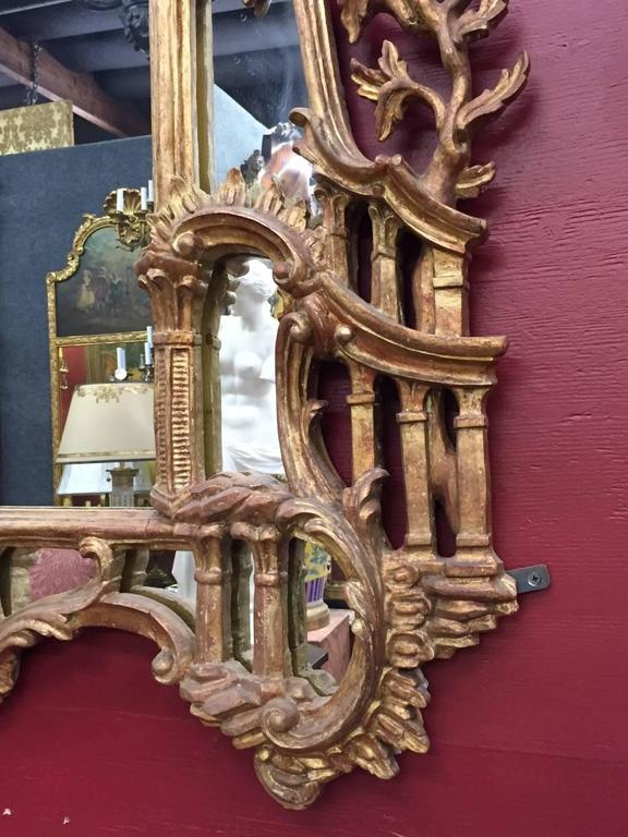 George III Chippendale Style Carved Giltwood Mirror, 19th Century For Sale 2