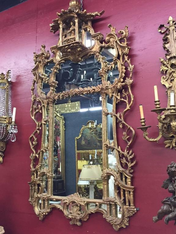 George III Chippendale Style Carved Giltwood Mirror, 19th Century In Good Condition For Sale In Cypress, CA