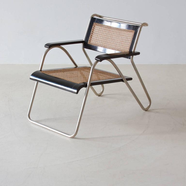 Rare Bauhaus tubular steel armchair pair model 8162 by Erich Dieckmann for Cebaso Ohrdruf, Thüringen, 1931.