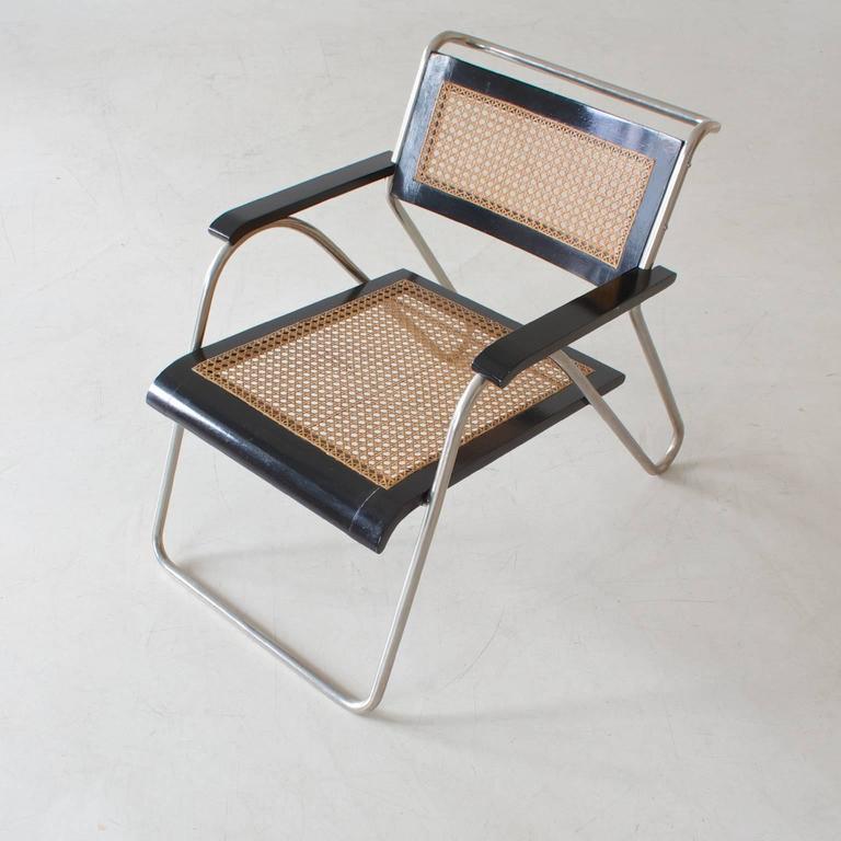 German Rare Bauhaus Tubular Steel Armchair Pair by Erich Dieckmann, 1931 For Sale