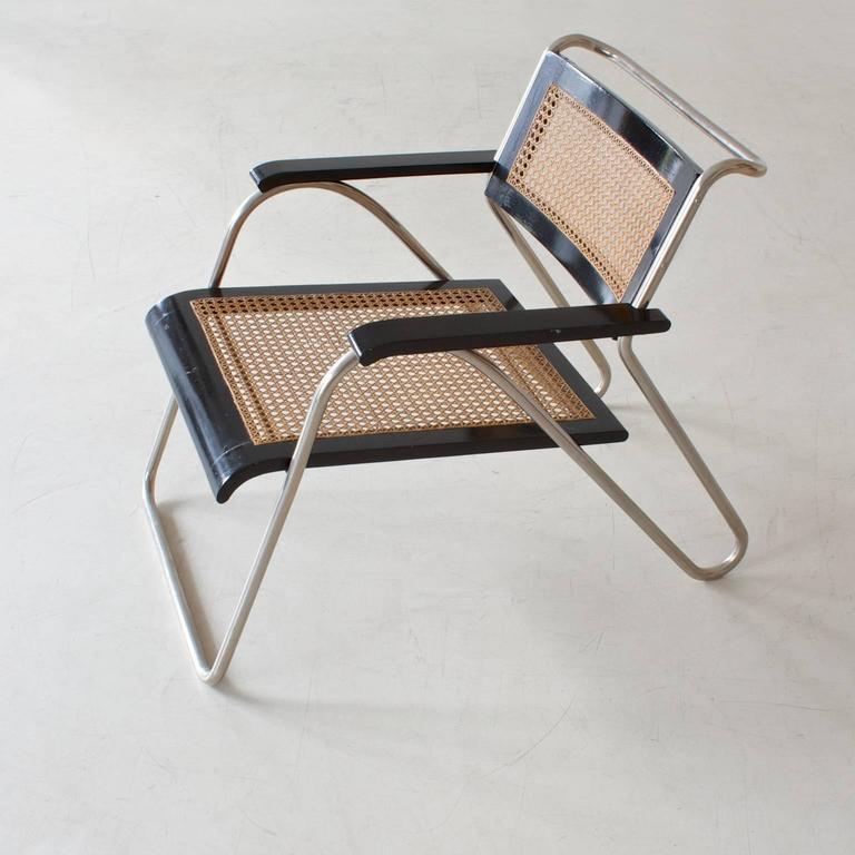 Lacquered Rare Bauhaus Tubular Steel Armchair Pair by Erich Dieckmann, 1931 For Sale