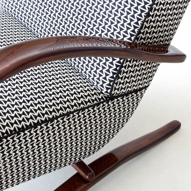 Stained Art Deco Streamline Armchair by Jindrich Halabala, 1940 For Sale