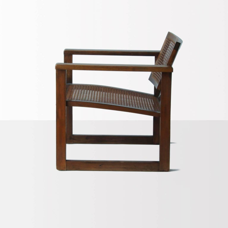 Stained Bauhaus Wooden Armchairs Pair by Peter Keler, Manufactured by Albert Walde, 1930 For Sale