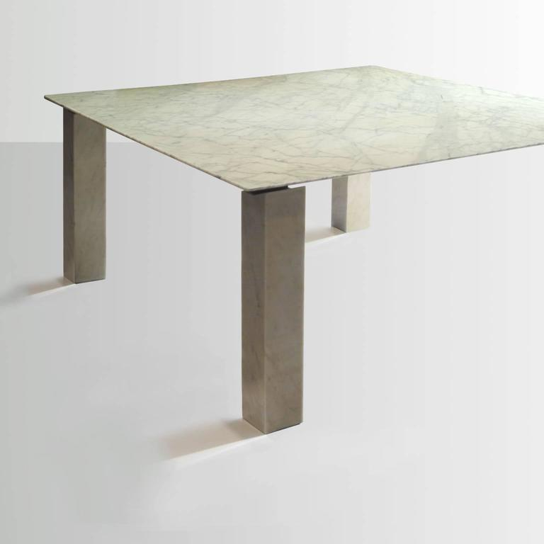 Post Modern Postmodern Carrara Marble Dining Table, Attributed To  Cappellini, Milano,