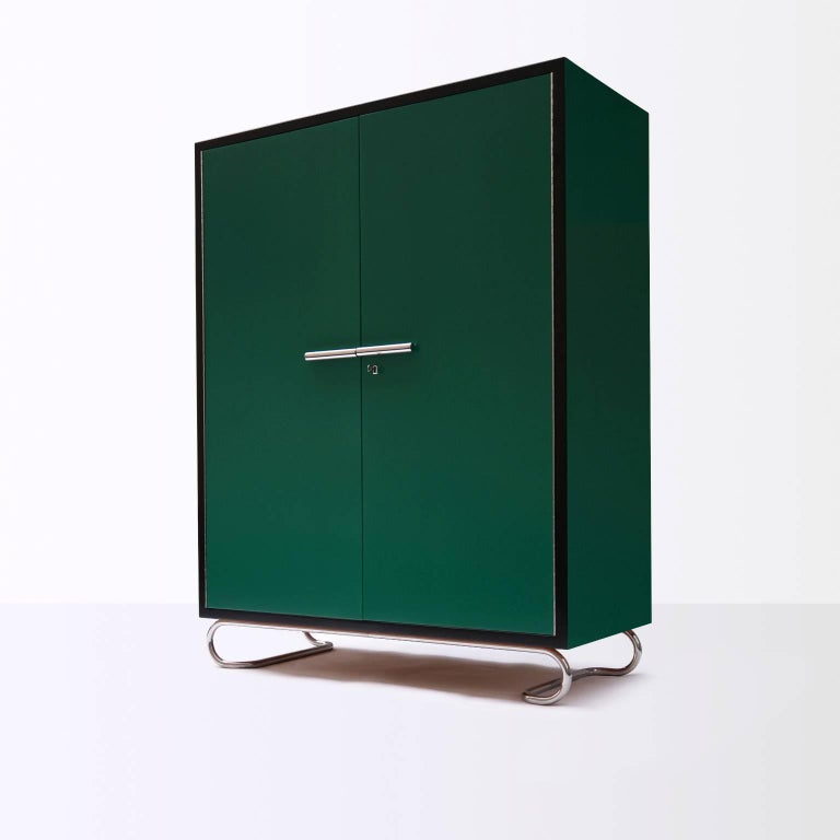 German modernism wooden storage cabinet manufactured by GMD Berlin, Design 1925. Wood lacquering in various colors and finish. Available on request in different amounts. Delivery time: 7-8 weeks.
