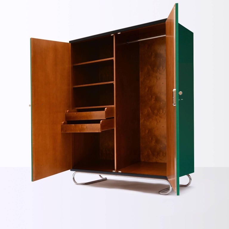 Lacquered German Modernism Wooden Storage Cabinet Manufactured by GMD Berlin, Design 1925 For Sale