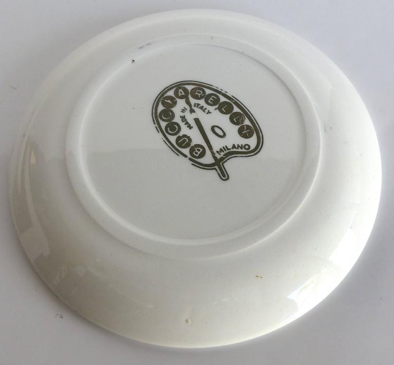 Mid-Century Bucciarelli Milan Porcelain Coasters, Set of Two 8