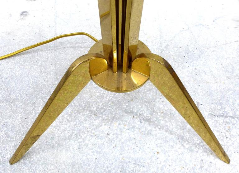 Art Deco 1940s French Brass and Crystal Floor Lamp For Sale
