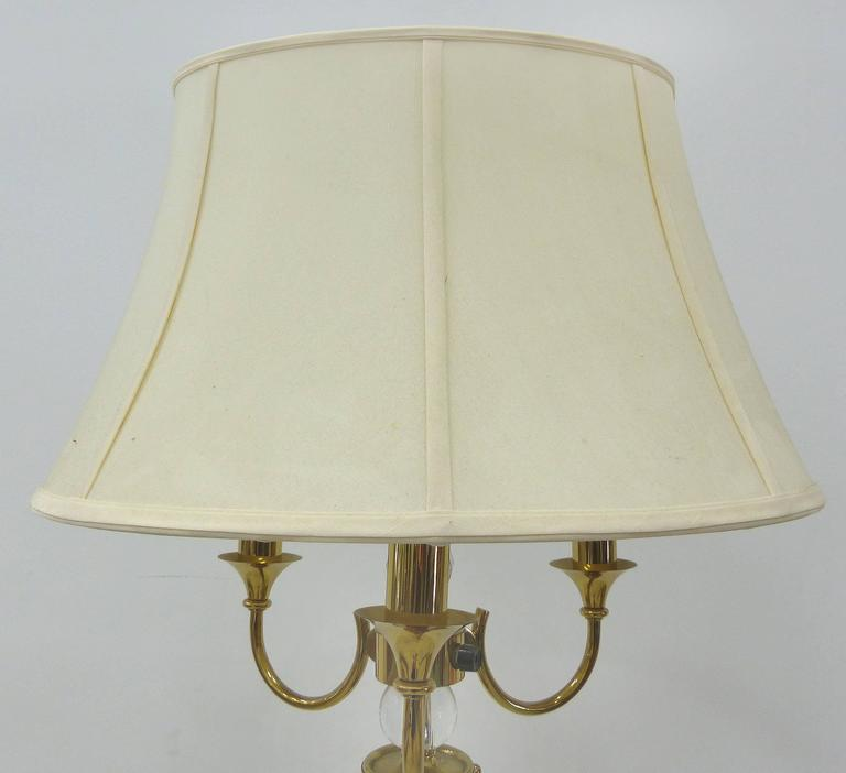 Mid-20th Century 1940s French Brass and Crystal Floor Lamp For Sale