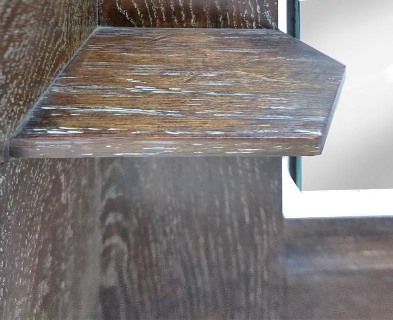 Art Deco Art's & Crafts Cerused Oak Cheval Floor Mirror In Good Condition For Sale In Miami, FL