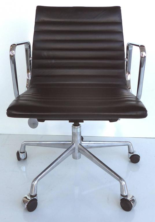 Mid Century Modern Eames Leather Desk Chair For Sale At