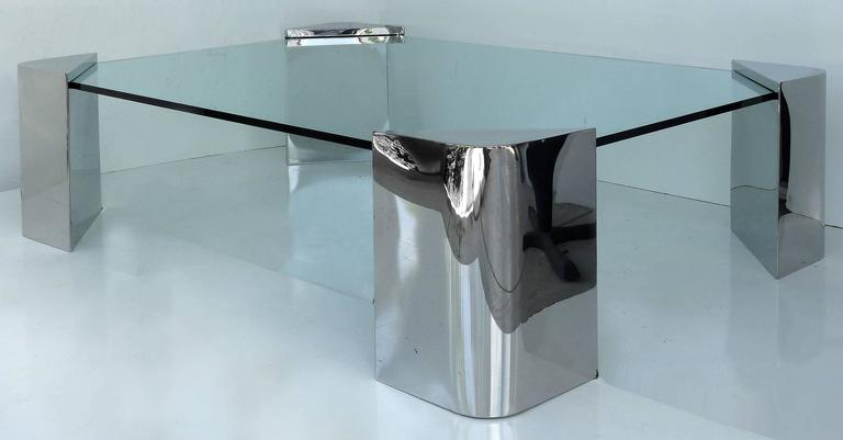 chrome and glass coffee table attributed to karl springer at 1stdibs