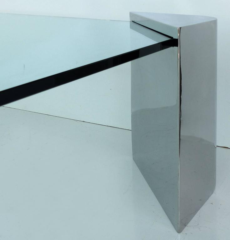 Artimeta Attributed Square Metal And Glass Coffee Table At: Chrome And Glass Coffee Table Attributed To Karl Springer
