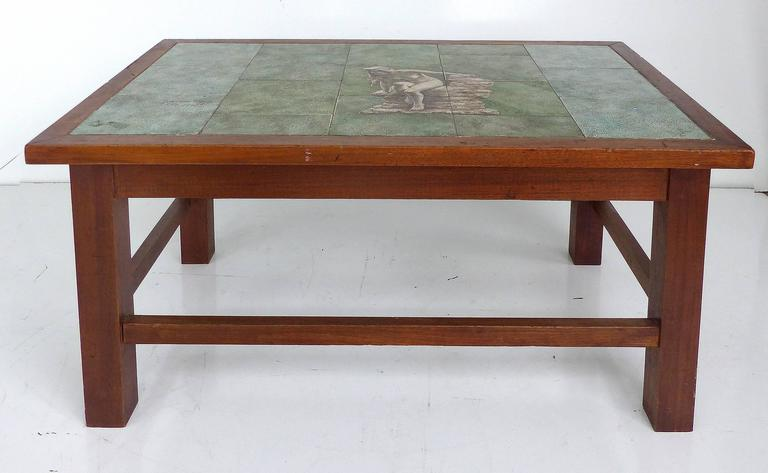 A Wonderful Hand Painted Tile Top Coffee Table With Wood Base And