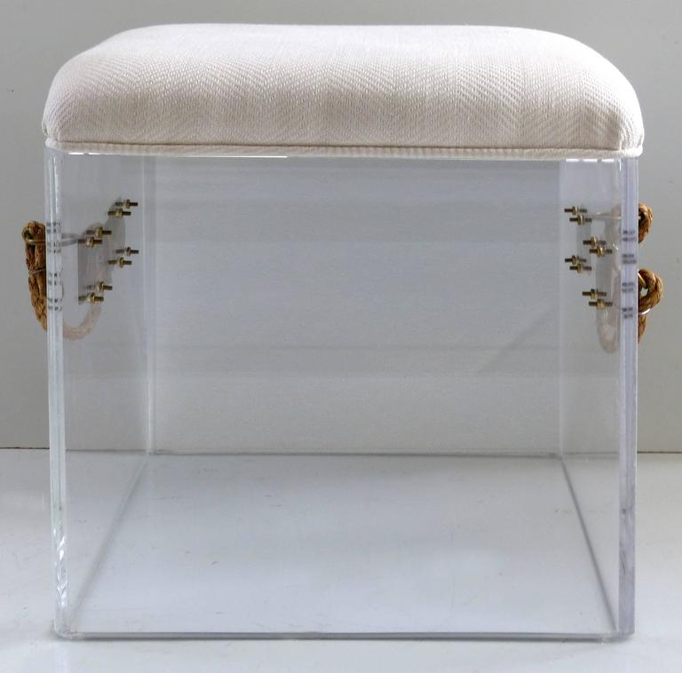 Custom-Made Lucite Bench with Rope Handles and Brass Hardware In Excellent Condition For Sale In Miami, FL