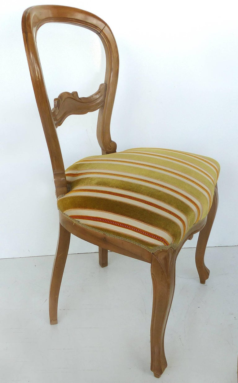 Set of ten balloon back dining chairs upholstered in for Striped upholstered dining chairs