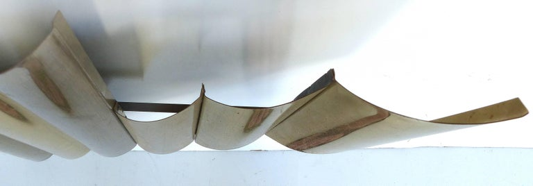 Mid-Century Modern C. Jere Style Brass-Plated Wall Sculpture, circa 1970s For Sale