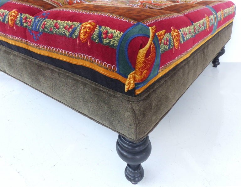 Rare Atelier Versace Tufted Upholstered Square Bench