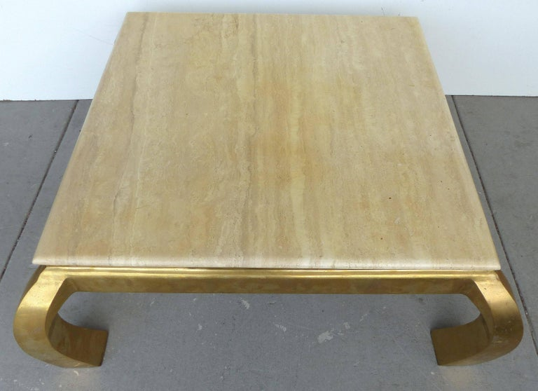 Offered For Is A Mid Century Modern Br And Travertine Coffee Table Created