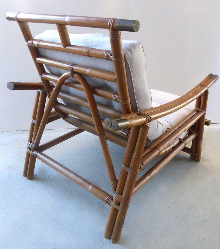 Mid Century Modern Rattan Lounge Chair and Ottoman by