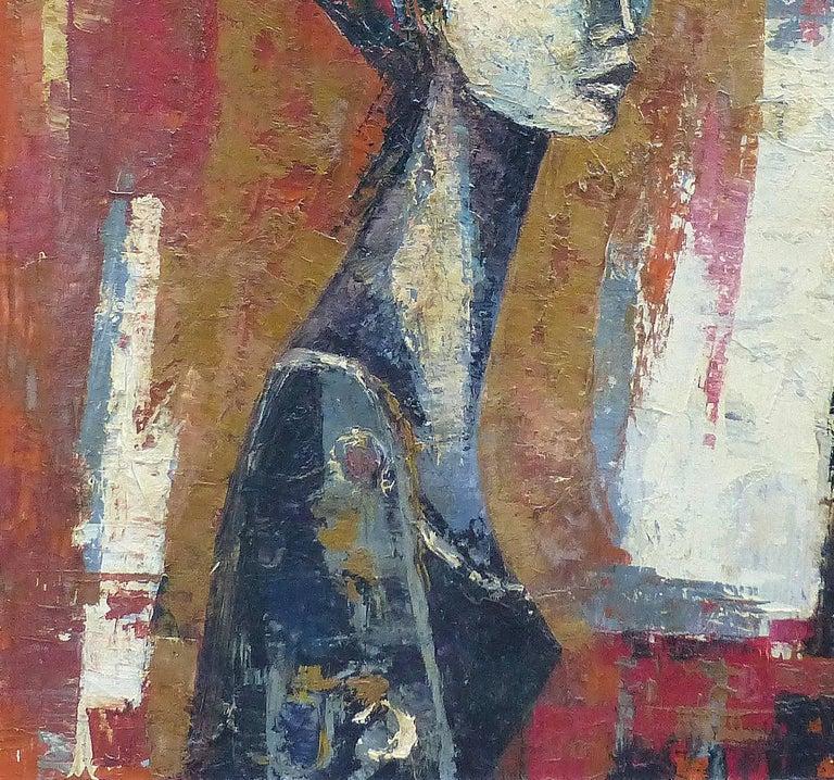 1960s Mid Century Modern Oil Painting Portrait By Ivan