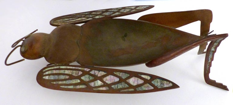Los Castillo Brass, Copper and Abalone Dish attributed to Salvador Teran For Sale 4