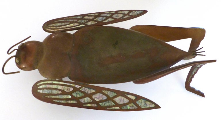 Los Castillo Brass, Copper and Abalone Dish attributed to Salvador Teran  Offered for sale is a brass, copper and abalone dish in the form of a whimsical grasshopper. Unmarked but attributed to Salvador Teran from the period when he worked in the