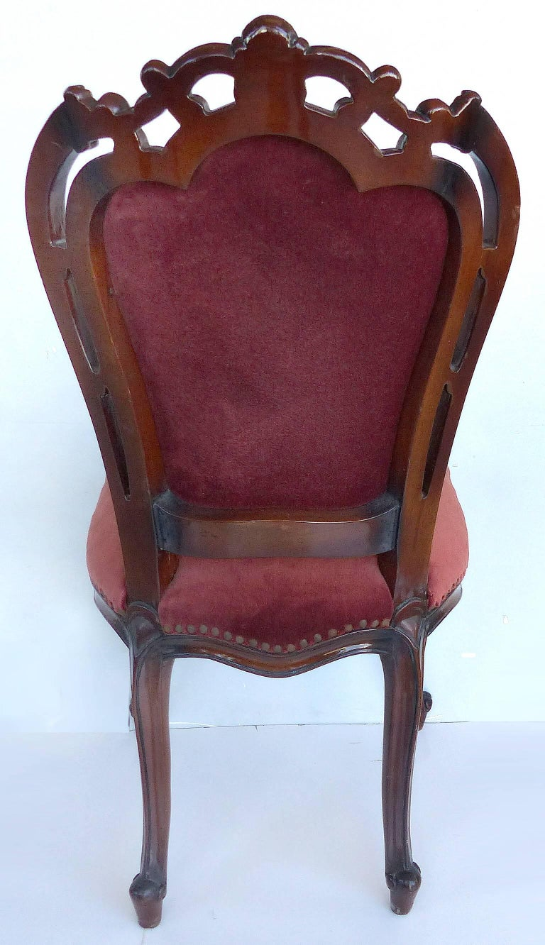 Louis XV Style Mahogany Dining Chairs with Carved Pierced Backs, Set of 10 For Sale 3