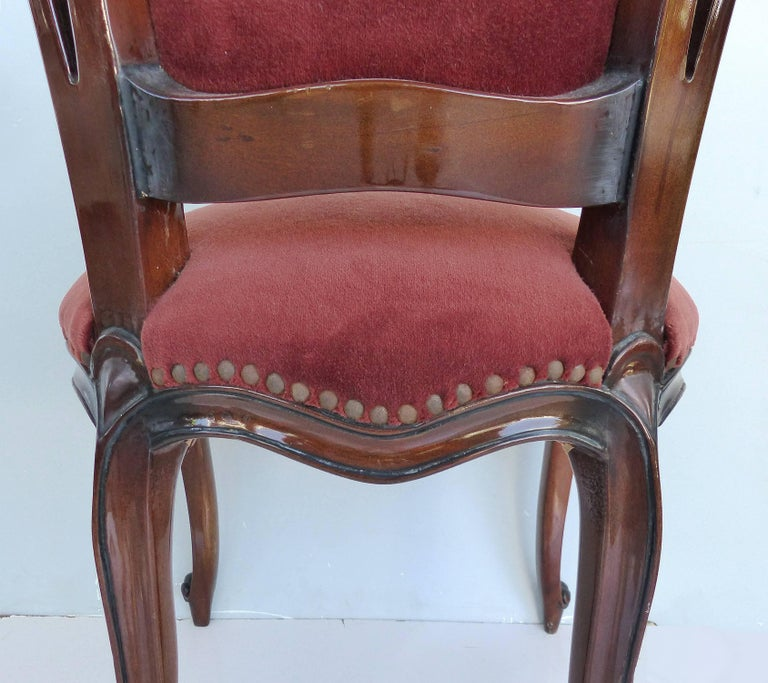 Louis XV Style Mahogany Dining Chairs with Carved Pierced Backs, Set of 10 For Sale 8