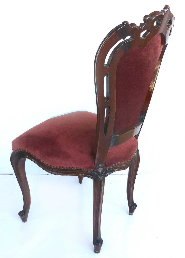 Louis XV Style Mahogany Dining Chairs with Carved Pierced Backs, Set of 10 For Sale 2