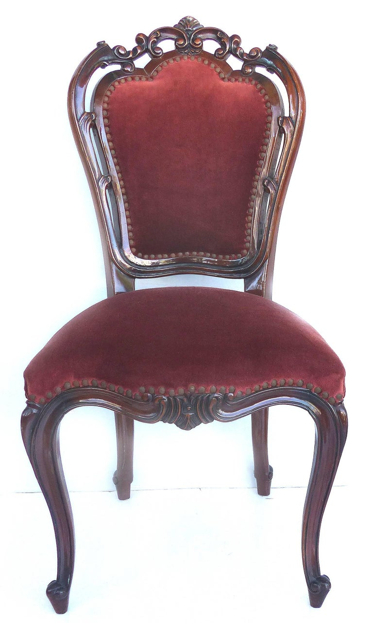 Mohair Louis XV Style Mahogany Dining Chairs with Carved Pierced Backs, Set of 10 For Sale