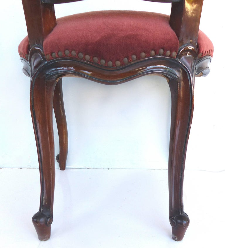 Louis XV Style Mahogany Dining Chairs with Carved Pierced Backs, Set of 10 For Sale 4