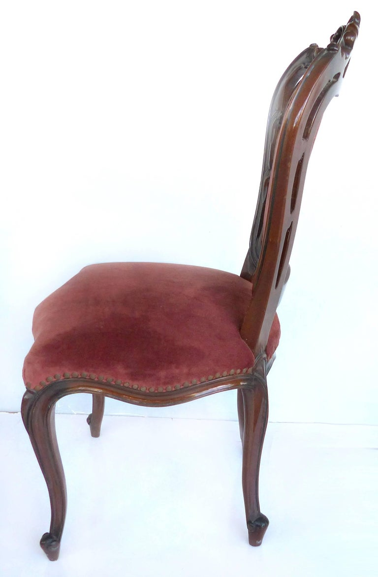 Louis XV Style Mahogany Dining Chairs with Carved Pierced Backs, Set of 10 For Sale 1