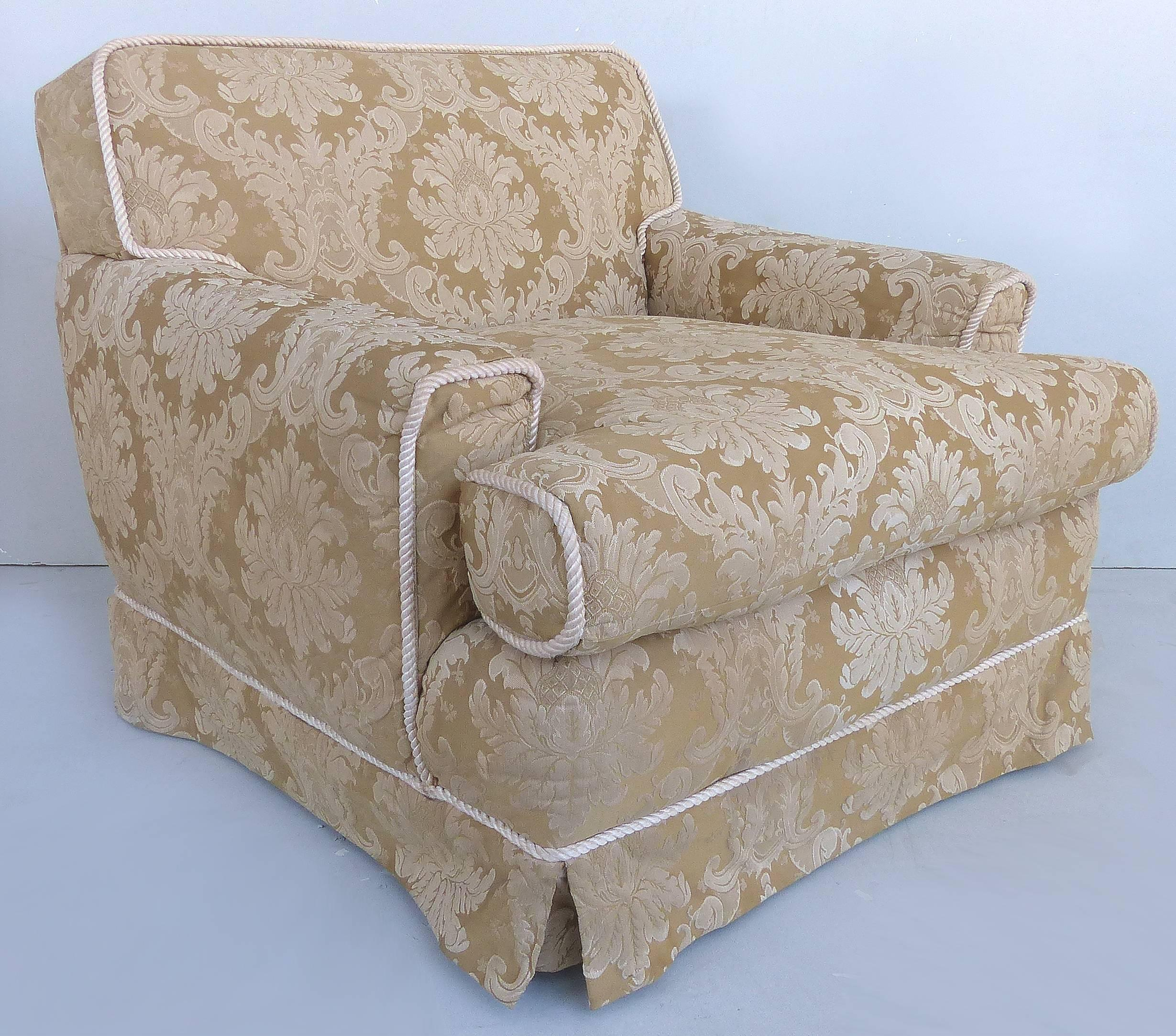 Damask Club Chairs With Down Filled Cushions, Skirted Bottom And Rope Trim  In Good