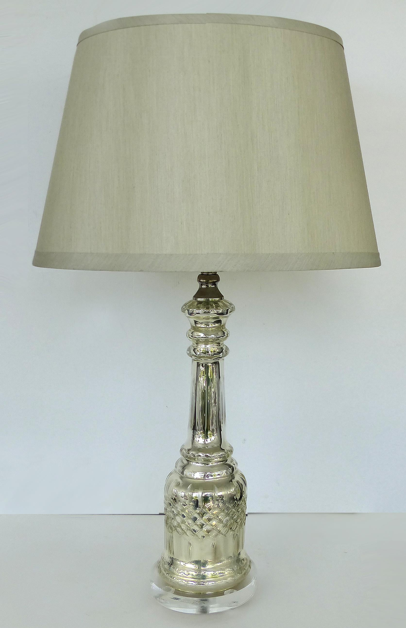 American Mercury Glass Table Lamps With Lucite Bases And Finials For Sale