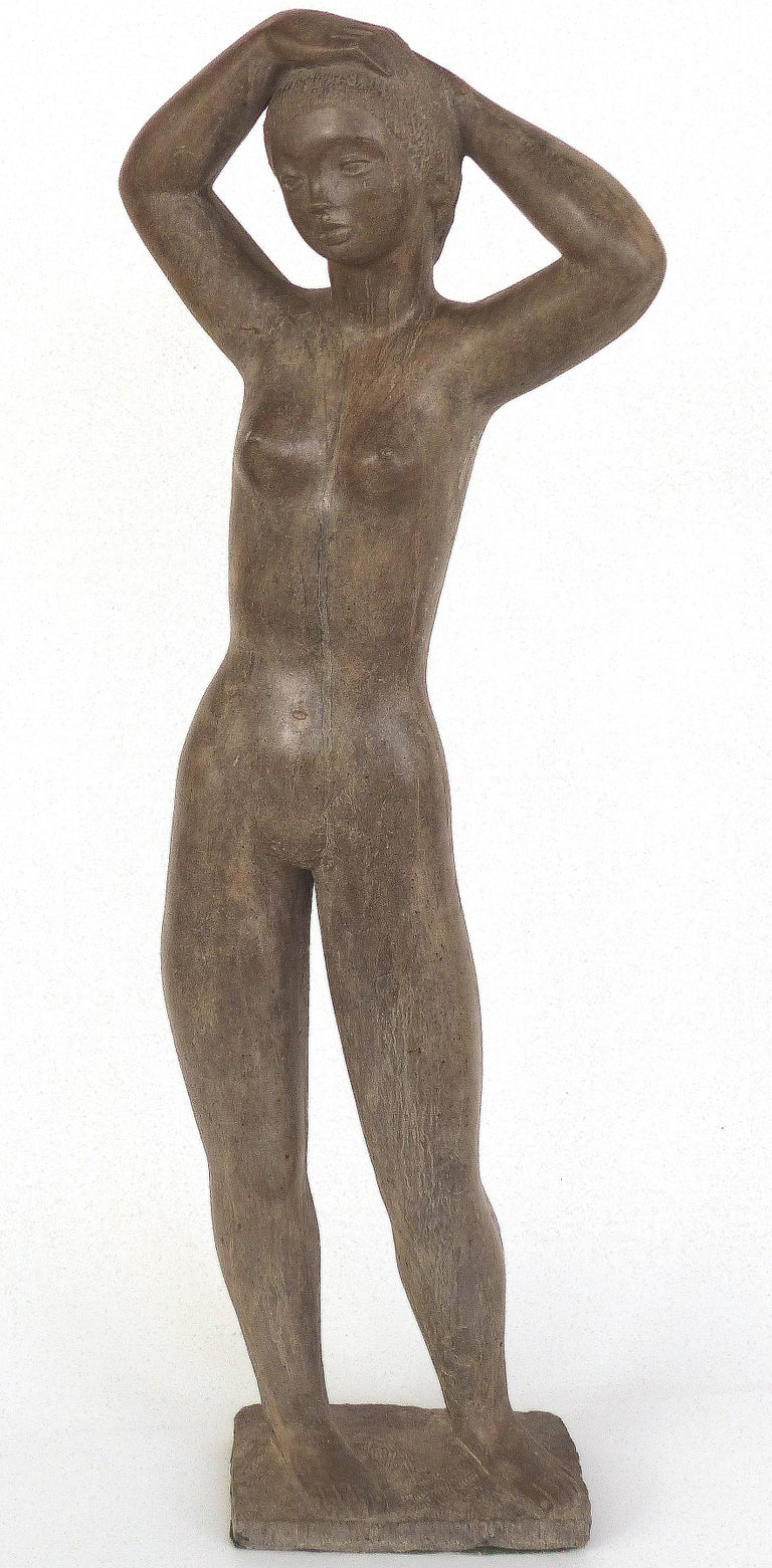 Offered for sale is a large and important cast composition sculpture of a standing nude by American artist Chuck Dodson, circa 1975. Dodson was an architect turned sculptor that was a resident artist at the Grove House in Coconut Grove, FL. His