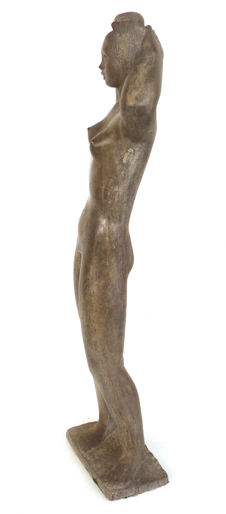 Mid-Century Modern Large Cast Composition Sculpture of Standing Nude, Chuck Dodson, American, 1970s For Sale