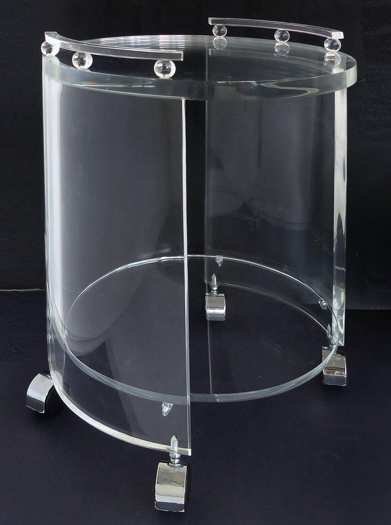 American Round Lucite Bar Cart on Casters For Sale