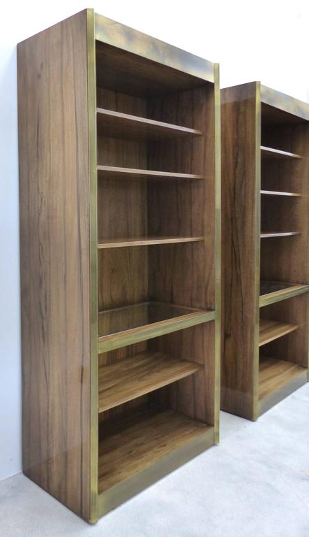 midcentury modern mastercraft rosewood and brass bookcases 2