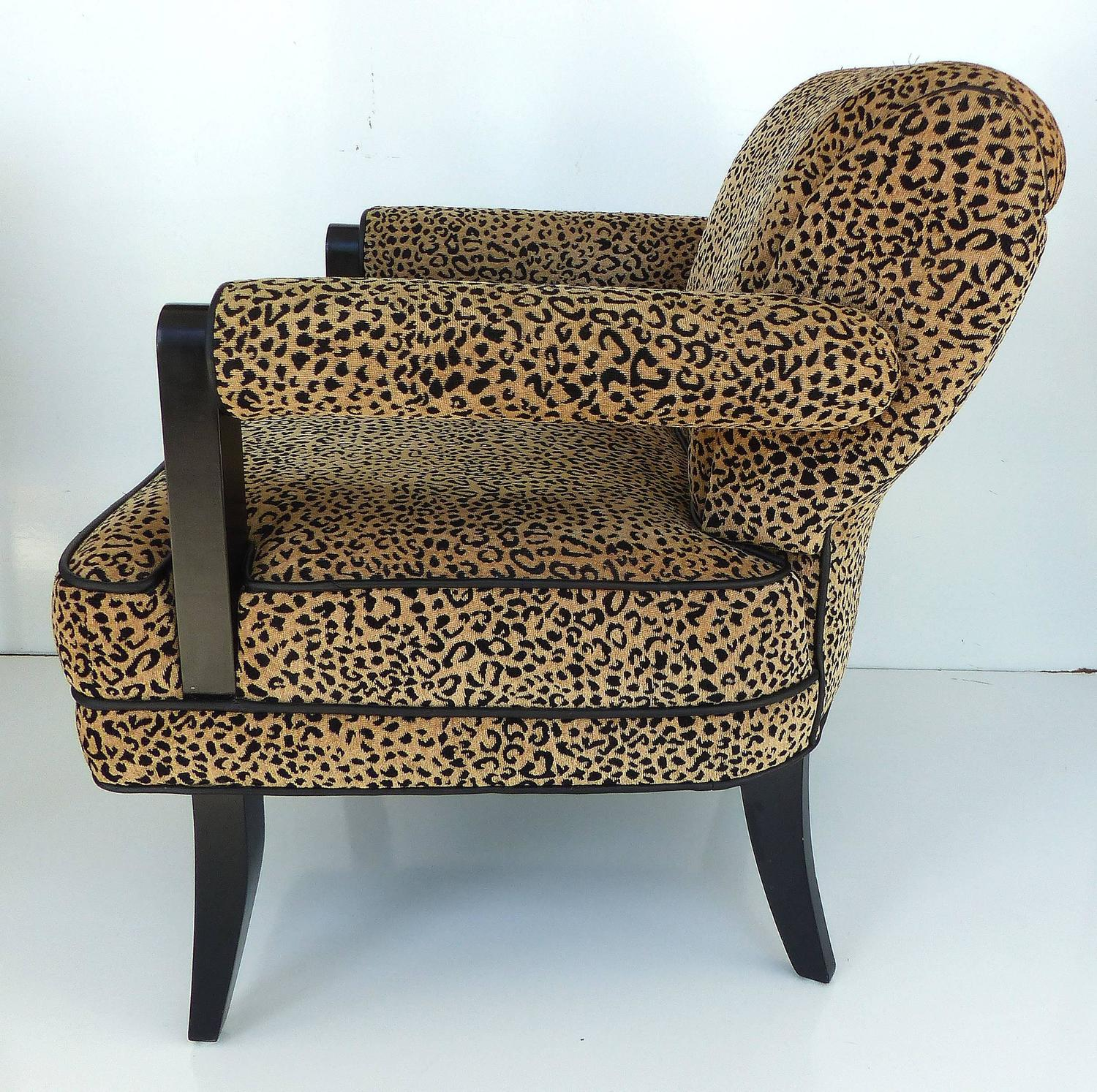 Larry Lazslo For Directional Pair Of Velvet Leopard Print Club Chairs For Sale At 1stdibs