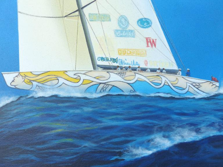 Gabriel Duarte Argentine Artist Nautical Painting  In Excellent Condition For Sale In Miami, FL